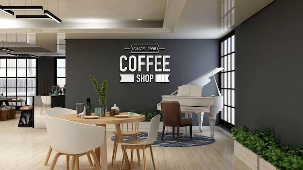 Cafe logo mockup in the coffee shop or restaurant room