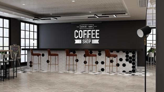 Макет логотипа кафе в современном дизайне интерьера кафе-бара