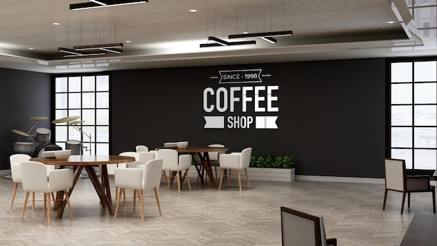 Макет логотипа кафе в зале ресторана с деревянной дизайнерской внутренней стеной