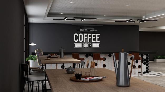 Cafe logo mockup in modern cafe bar interior design
