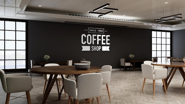 Cafe logo mockup in the restaurant room with wooden design interior wall
