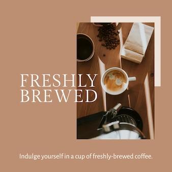 Modello di marketing per caffè psd per post sui social media appena preparato