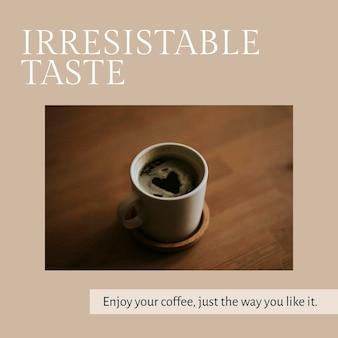 Cafe marketing template psd for social media post irresistible taste