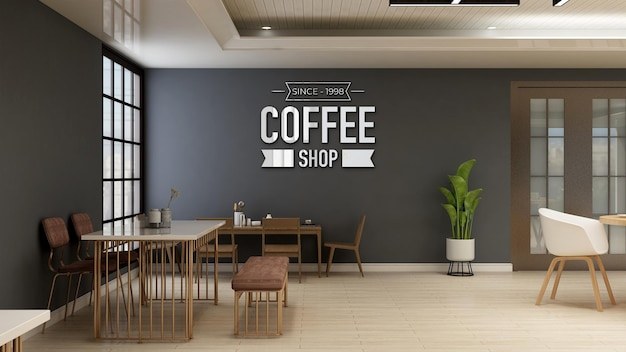 Cafe or restaurant logo mockup in the coffee shop with table and desk