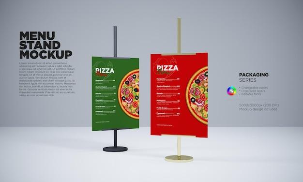 Cafe or restaurant menu holders mockup in 3d scene