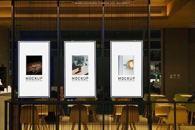 Cafe or restaurant poster billboard mockup