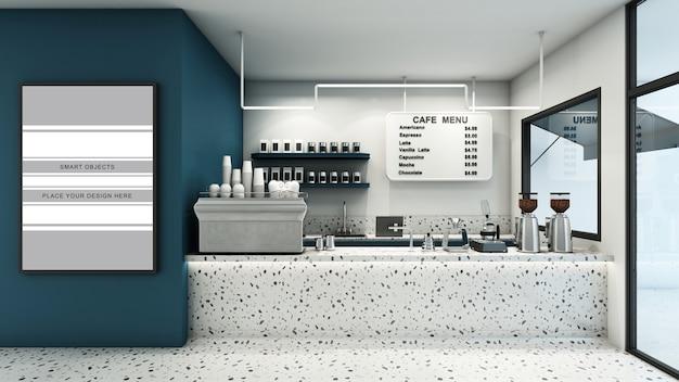 3d 렌더링 모형의 카페 상점 배너