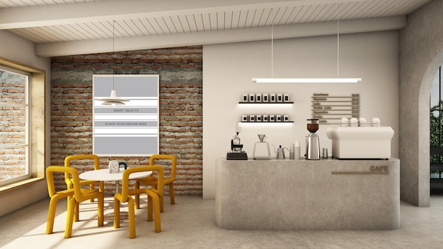 Cafe shop design minimalist and loft 3d render