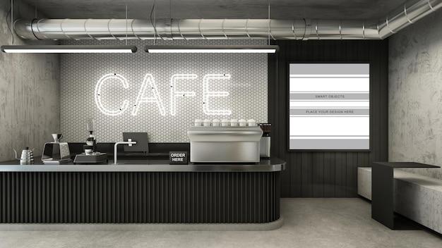 카페 숍 레스토랑 디자인 미니멀리스트 3d 렌더링