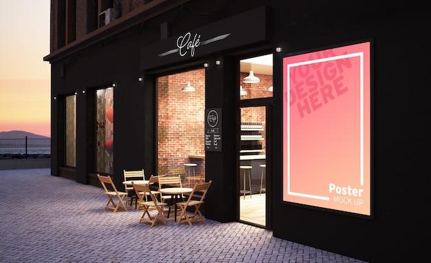 3d-рендеринг макета фасада магазина кафе