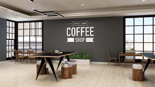 Cafe wall logo mockup in the modern cafe or coffee shop place