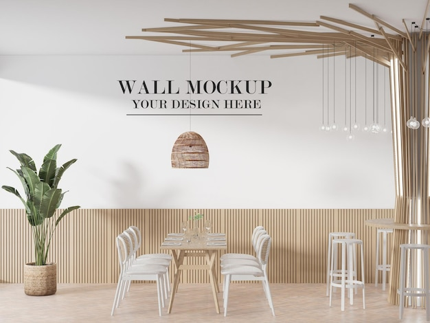 Cafe wall mockup in 3d rendering