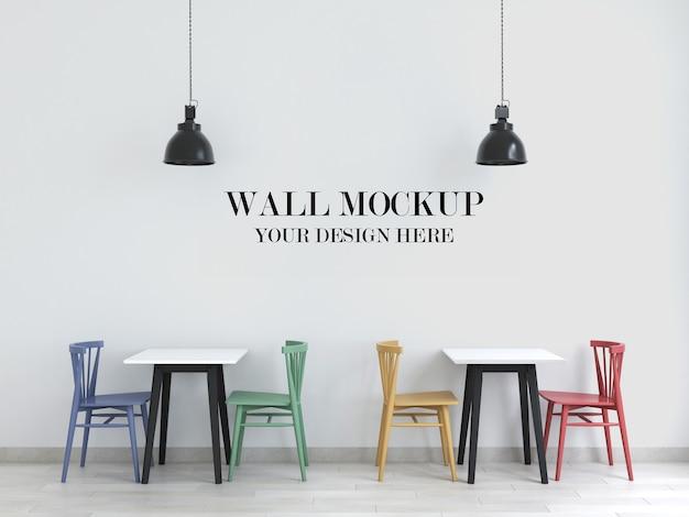 Макет стены кафе с красочными стульями