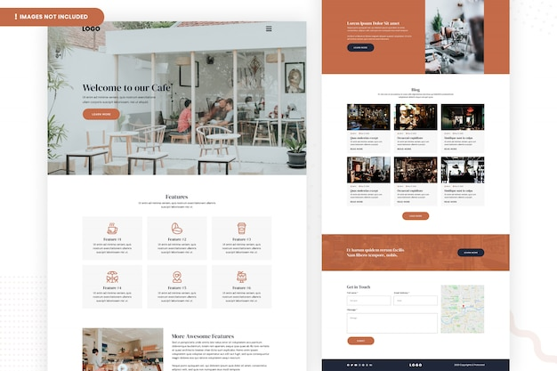 Cafe website page template