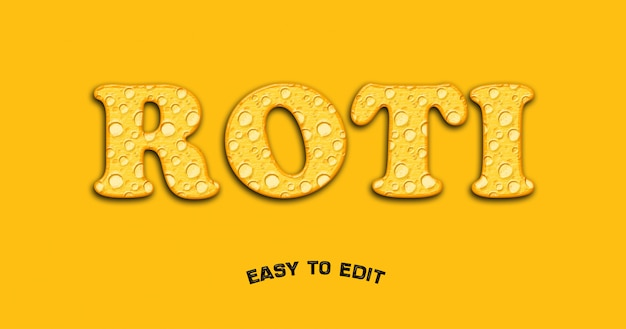Cake 3d alphabet texture effect mockup on yellow background