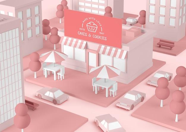 ケーキとクッキーのピンクの建物