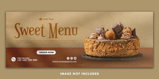 Cake facebook cover banner template for restaurant promotion