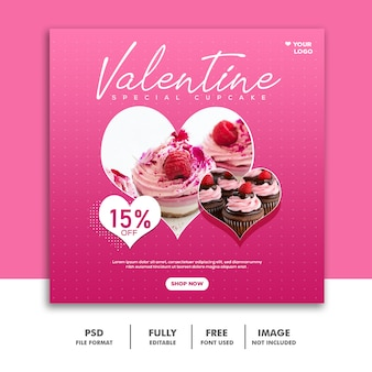 Cake food valentine banner social media post instagram pink love