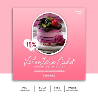 Cake food valentine banner social media post instagram pink