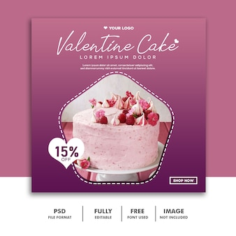 Cake food valentine banner social media post instagram purple