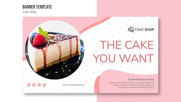 Cake shop concept banner template