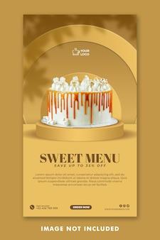 Cake social media instagram stories template for restaurant promotion