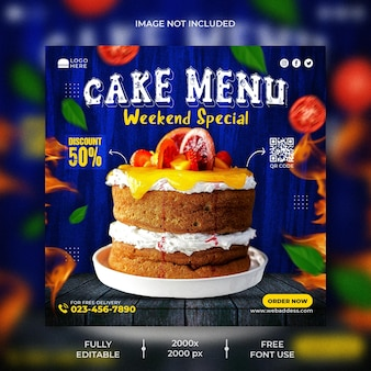 Шаблон сообщения в социальных сетях торт для продвижения ресторана