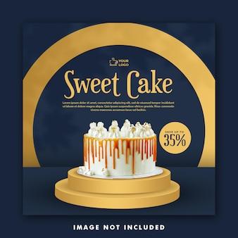 Cake social media post template for promotion restaurant