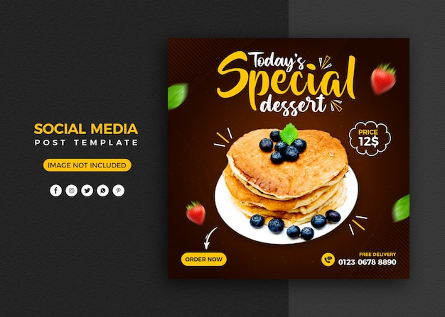 Cake social media promotion and instagram banner post design template