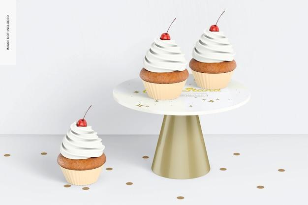 カップケーキモックアップ付きケーキスタンド