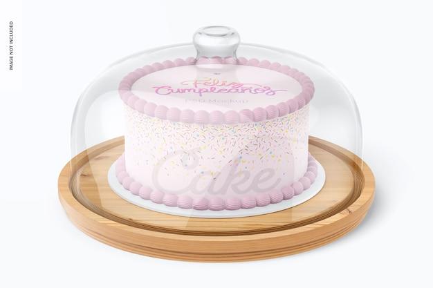 ドーム蓋モックアップ付きケーキスタンド、正面図