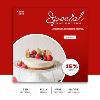 Cake valentine banner social media post food delicious
