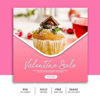 Cake valentine banner social media post food special sale