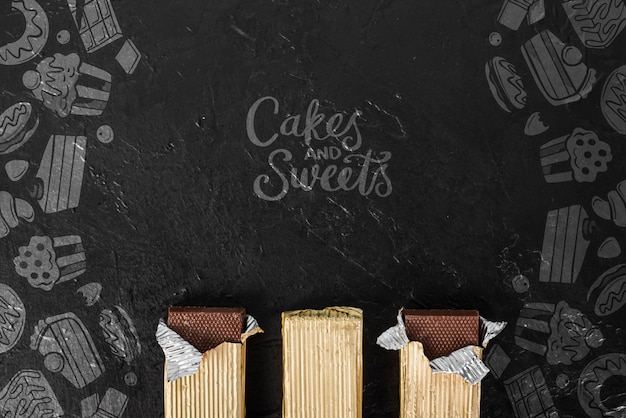 Cakes and sweets with full chocolate tablets