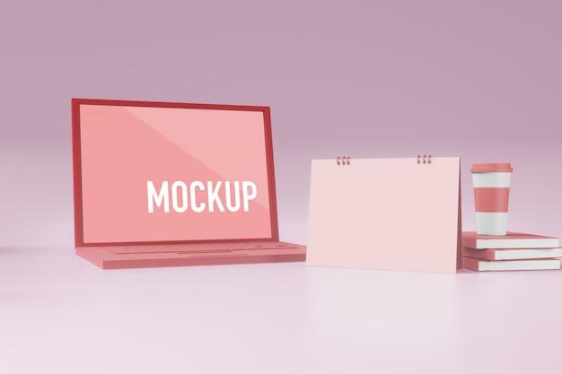 Calendar and laptop mockup