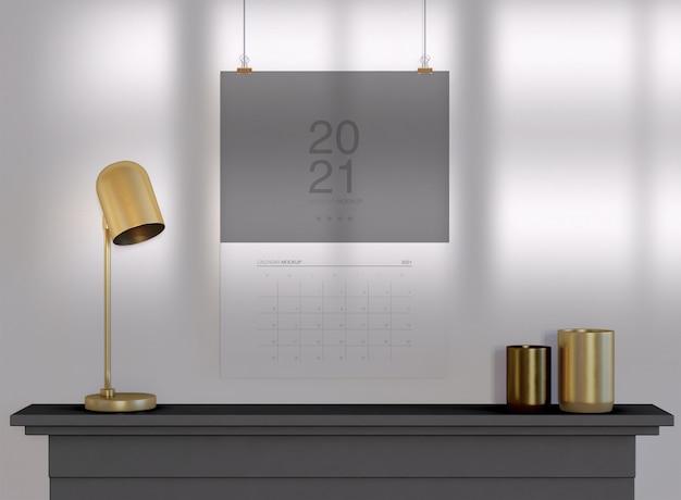Мокап календаря, висящий на стене