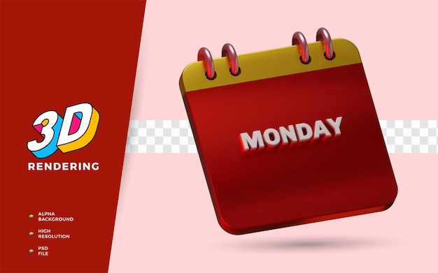 Календарь понедельник 3d визуализация изолированный объект иллюстрации