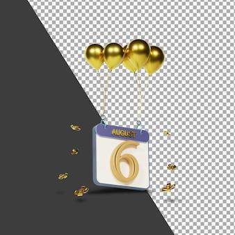 Календарный месяц 6 августа с золотыми шарами 3d-рендеринга изолированы