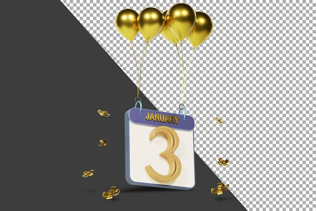Календарный месяц 3 января с золотыми шарами 3d-рендеринга изолированы