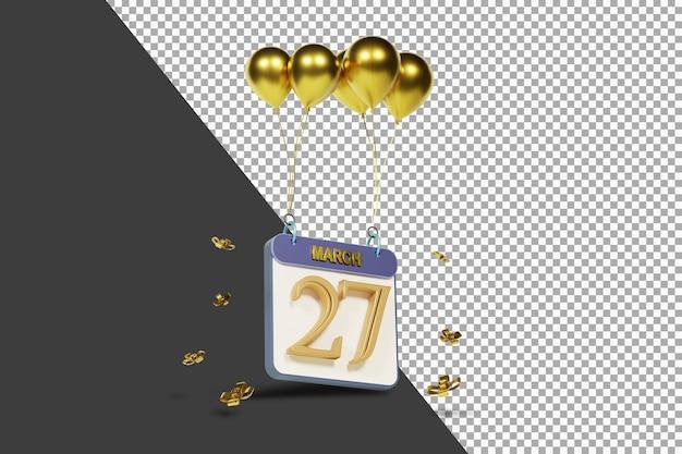Календарный месяц 27 марта с золотыми шарами 3d-рендеринга изолированы