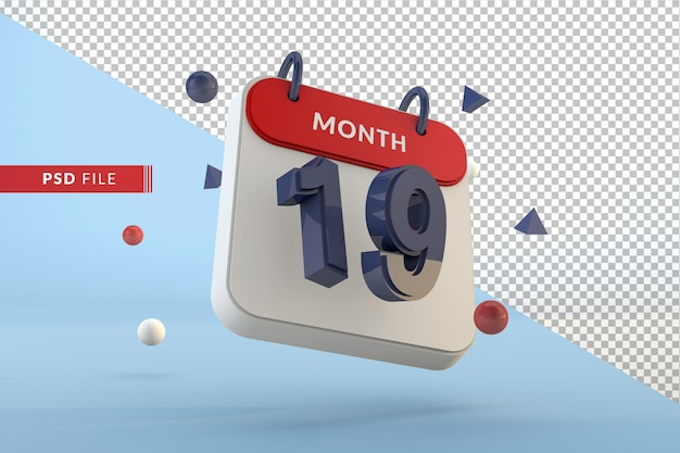 Calendar number 19 isolated template 3d render