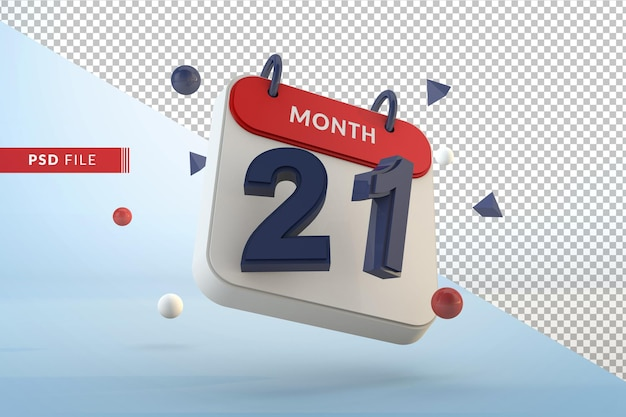 Calendar number 21 isolated template 3d render