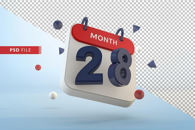 Календарь номер 28 изолированные шаблон 3d визуализации