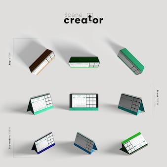 Calendar various angles for scene creator illustrations