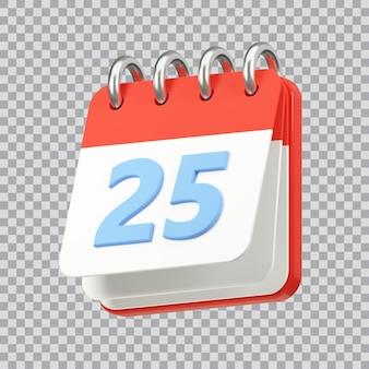 12月25日のクリスマス休暇アイコン3dレンダリングのカレンダー