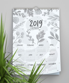 Calendar with leaves background template