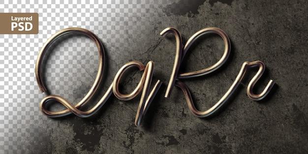 銅線で作られた書道のアルファベット