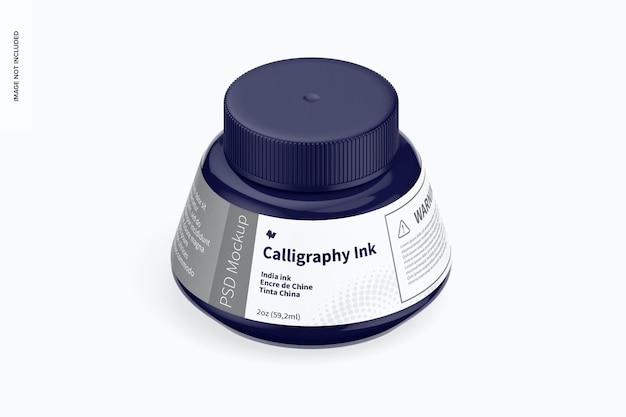 Mockup di inchiostro per calligrafia, vista isometrica