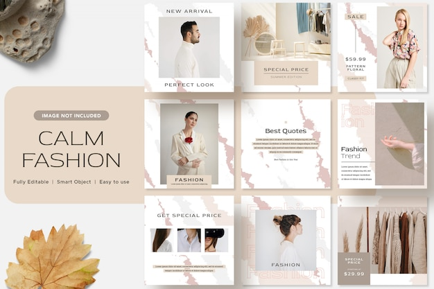 Calm fashion social media instagram post template