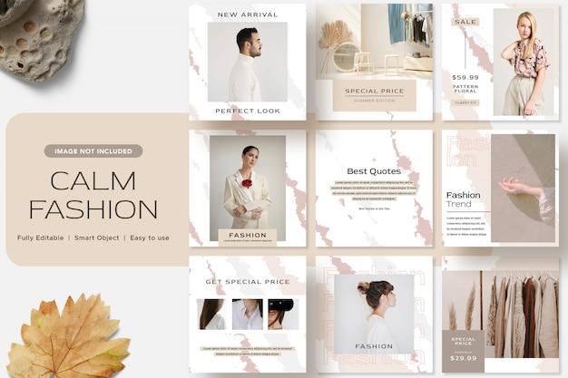 穏やかなファッションソーシャルメディアinstagram投稿テンプレート